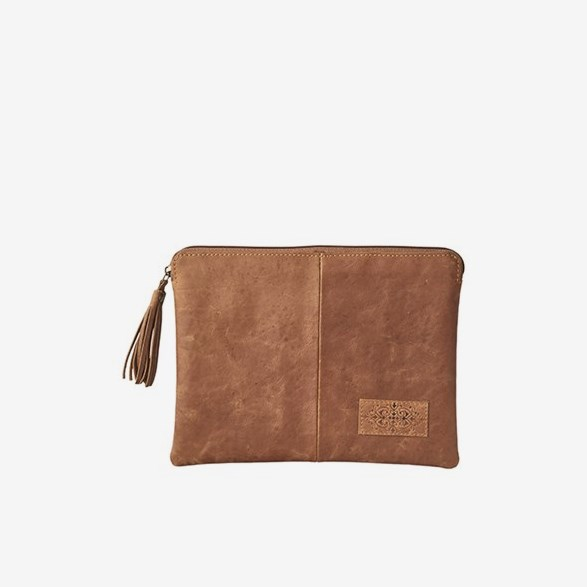 Oxford Clutch bag L Light Brown
