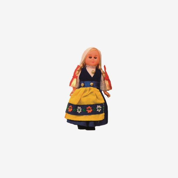 Doll With Traditional Swedish Clothes Girl 14cm