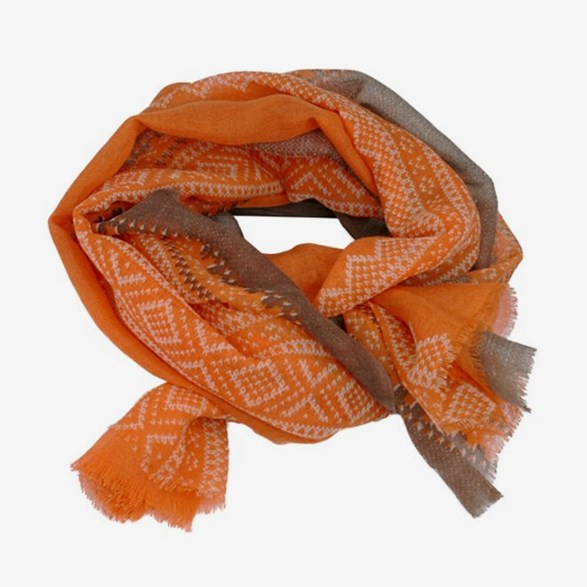 Scarf Mariusmönster Orange & Vit