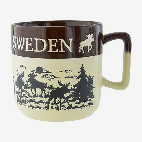 Mug With Moose Sweden Brown