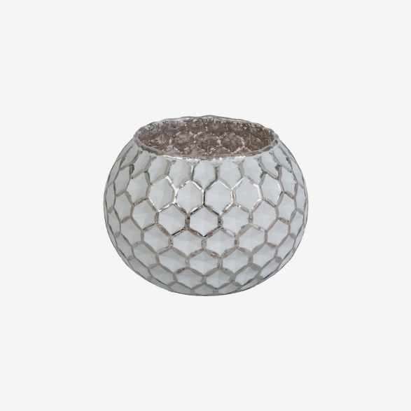 White And Pink Candle Lantern With Honeycomb Pattern