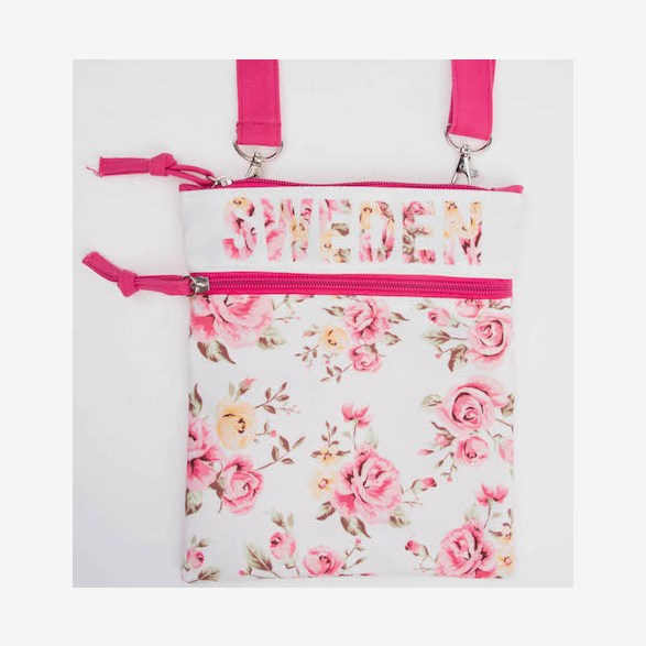 Passport Bag With Flowers White & Pink