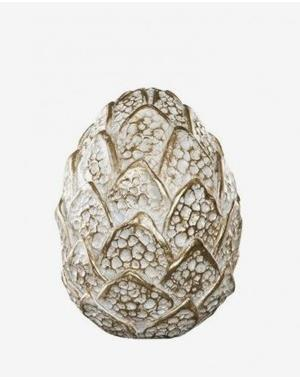 White And Gold Colored Egg 11,5 x 15,5 cm