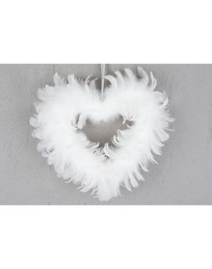 Feather Heart White 28cm