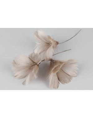 Light Brown Feathers 12 Pack