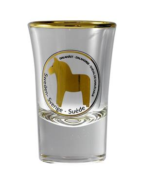 Shot Glass Golden Dala Horse