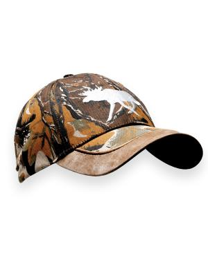 Stylish camo cap with silver-colored moose motif