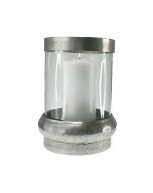 Large Candle Lantern Antique Silver