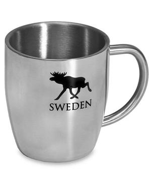 Stainless Steel Mug With Black Moose
