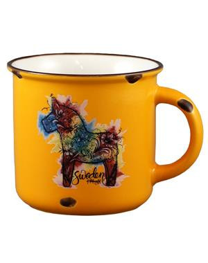 Yellow Mug With Colorful Dala Horse