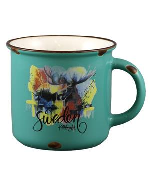 Turquoise Mug With Colorful Moose
