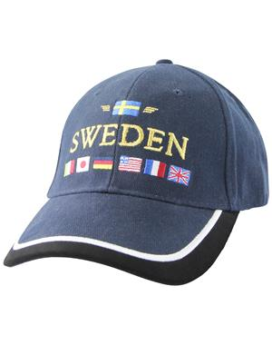 Navy Blue Cap With Embroidered Flags
