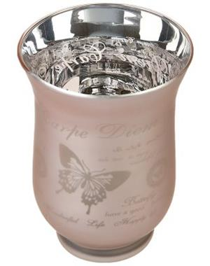 Pink Candle Lantern With Butterflies 15 cm