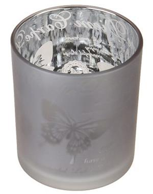 Gray Candle Lantern With Butterflies 8cm
