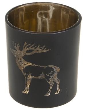 Black Candle Lantern With Deer 8 cm