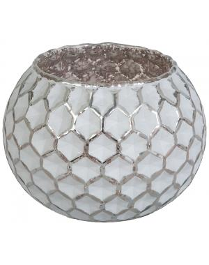 White And Silvery Candle Lantern With Honeycomb Pattern