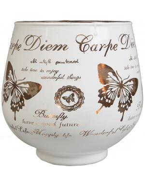 Carpe Diem White Candle Lantern With Copper Colored Inside 9.5cm