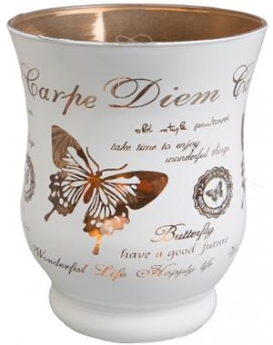 Carpe Diem White Candle Lantern With Copper-colored Inside 11 cm