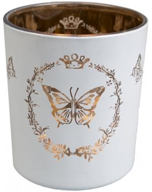 White Candle Lantern With Butterfly motif And Copper-colored inside 10 cm