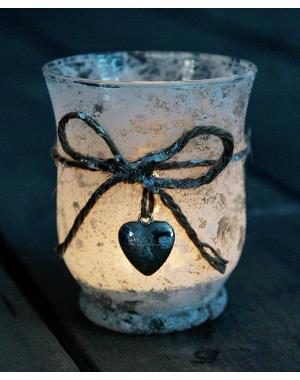Candle Lantern Of Frosted Glass With Heart 10cm