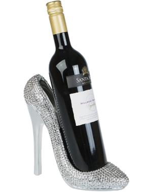 Silver Shoe Wine Holder