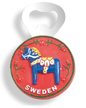 Fridge Magnet With Bottle Opener And  Blue Dala Horse Sweden