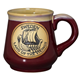 Large Burgundy Mug With Viking Ship