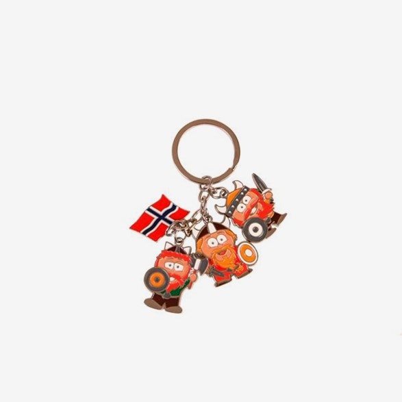 Metal Keychain 3 Vikings & 1 Norwegian Flag