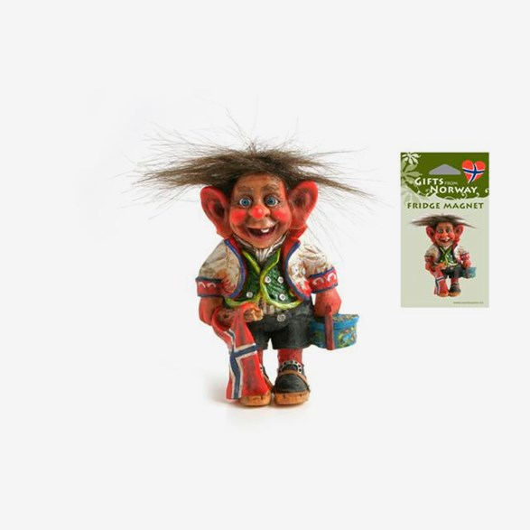 Fridge Magnet Troll With Skis