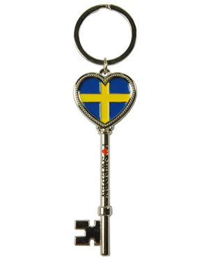 Keychain Key With Swedish Flag