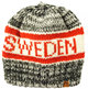 Knitted Hat Sweden Grey & Red