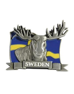 Fridge Magnet Metal Moose & Swedish Flag