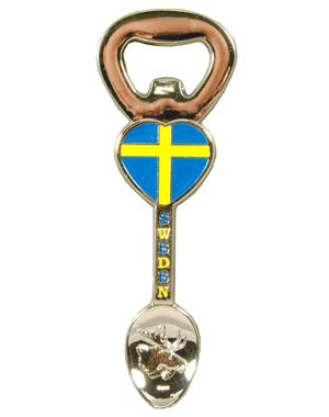 Spoon-Shaped Fridge Magnet With Cap Opener Sweden
