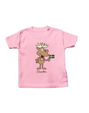 Kids T-shirt Baby Moose With Flag Pink