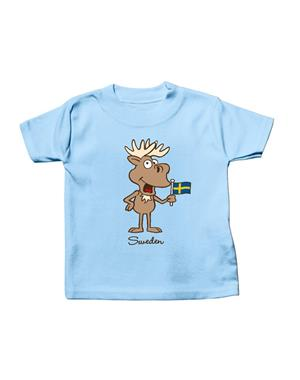 T-shirt Baby Moose With Flag Blue