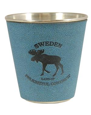 Metal Shot Glass With Moose Blue