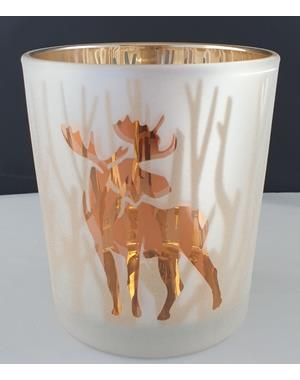 Small Candle Lantern With Moose