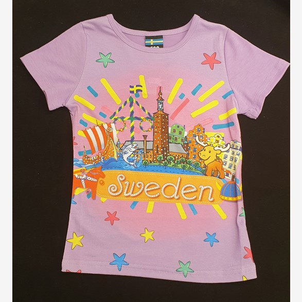 T-Shirt Barn Lila Sweden