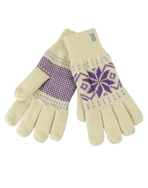 White Gloves With Purple Pattern