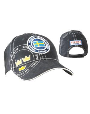 Black Cap With Embroidered Sweden Motif
